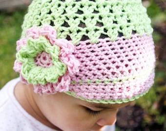 6 to 12m Girl Newsboy Hat Crochet Flower Baby Hat Newsgirl Flower Hat Lime Green Baby Pink Merino Girl Baby Beanie Photo Prop