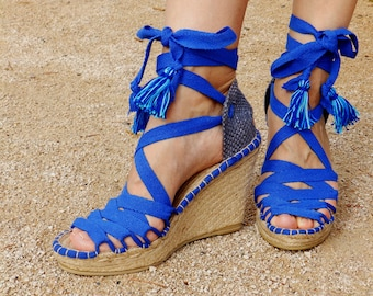 Blue  Hight Wedge   Sandals   Spanish espadrilles   Boho style   Alpargatas made in Spain