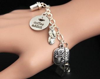 Coffee Bracelet. Coffee Addict Charm Bracelet. Coffee Lover Bracelet. Caffeine Bracelet. Food Bracelet. Silver Bracelet. Food Jewelry.