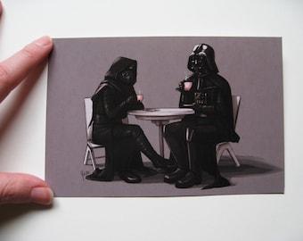 Star Wars Postcard Print - Tea with Grandpa Vader