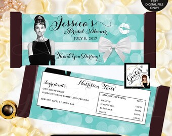 """Candy Bar Wrapper bridal shower wrappers, hershey chocolate wrapper, Audrey Hepburn Customizable PRINTABLE {2 Per/Sheet 5.25 x 5.75""""}"""