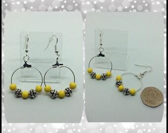 Yellow Bead Hoop Earrings