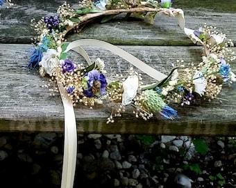 Blue Purple Flower Crown dried silk floral Thistle hair wreath bridal halo destination wedding Wildflower accessories music festivals