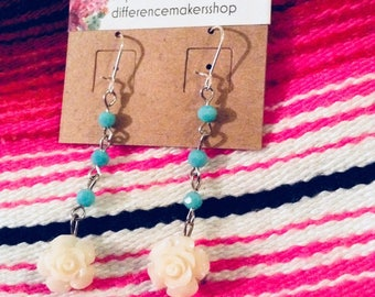 White Rose and teal earrings