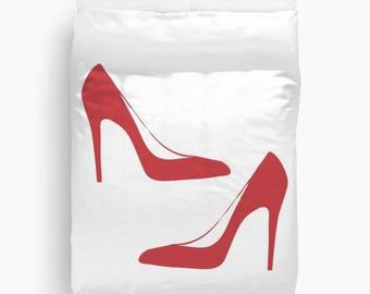 Red Heels Duvet Cover, Fashion Decor, Teen Girl Room Decor, Girls Bedroom Decor, Dorm Bedding, Fashion Bedding, Twin, Queen, King, Red