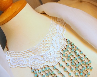White Necklace with Shabby Chic Lace & Aqua Beads