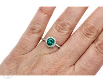 Emerald Ring Emerald Engagement Ring Diamond Halo May Birthstone Jewelry Green Stone