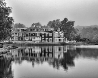 Lakeside living at Kennebunkport, Fine art photographic print in various sizes, Black and White, reflections