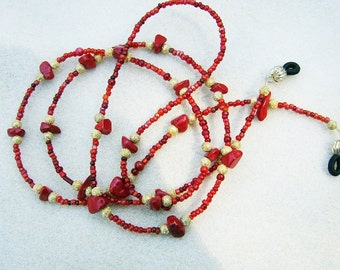 Handmade Eyeglass Chain - Bright & Cheerful Red Coral, Gold Stardust with Shades of Red Seed Beads by JewelryArtistry - L221
