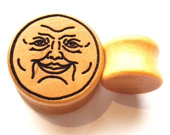 Pair of Engraved Moon Face Plugs (Pair) [Organic wood stretchers/ Tunnels / Gauges 10mm - 60mm]