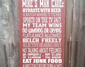 Man Cave Rules : Man cave rules customizable subway art wall hanging