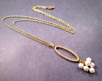 Pearl and Rhinestone Necklace, White Glass Pearls and Rhinestones, Gold Pendant Necklace, FREE Shipping U.S