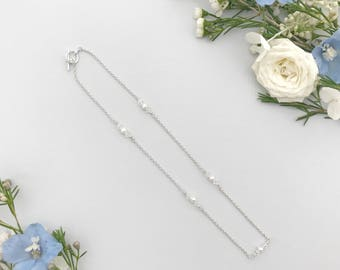 Freshwater pearl and Swarovski crystal wedding necklace, Pearl and crystal wedding necklace