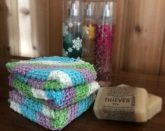 Hand Knit 100% Cotton Washcloths / Set of 3