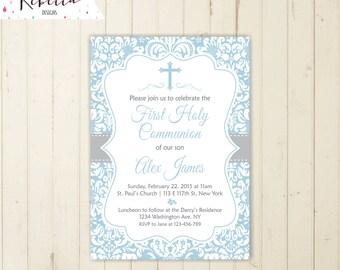 Printable Baptism Invitation Beige and Blue Baptism