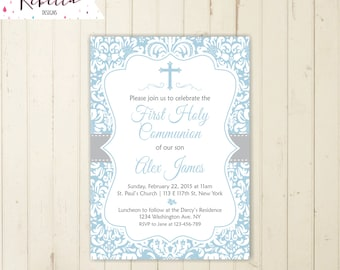 Boy communion invitation first communion invitation boy holy communion invite confirmation invitation printable baptism invitation 164