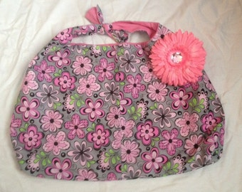 grey/pink flower print hobo bag with pink flower accent