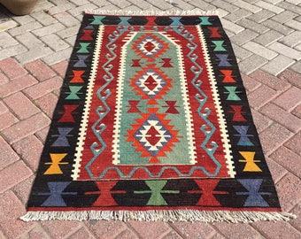 "Small size kilim rug, red black and green rug, 57"" x 35"", Vintage Turkish rug, pastel kilim rug, kelim, bohemian rug, bedroom rug, 746"