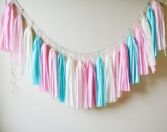 Classic Cotton Candy Tassel Garland, Pink Blue Garland, Gender Reveal Garland, Gender Reveal Party, Cotton Candy Party, Boy Girl Twins Party
