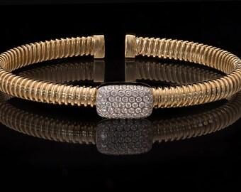18k Yellow Gold 0.45 ct Diamonds Bangle Bracelet,  Flexible bracelet, Diamond Bangle , Diamond Bracelet
