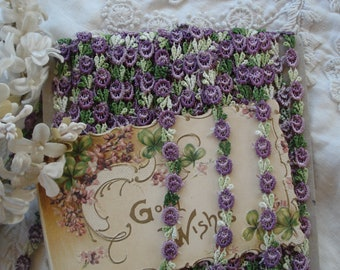 """1y Vintage 1/4"""" Ombre Purple Green Schiffli Venise Petite Flower Applique Lace Embroidered Trim French Bebe Doll Ribbon Novelty Sewing"""