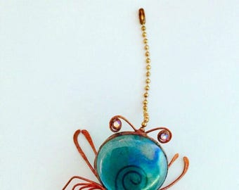 Crab Fan Pull, Crab Ornament, Coastal Pull,  Beachy , Sea Life Accents, Tree Ornament, Copper Crab, Glass, Blue Crab, hostess, fathers day