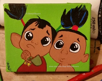 Tipo and Chaca from the classic and funny Disney movie The Emperor's New Groove. 5 x 4 wrapped canvas painting ooak
