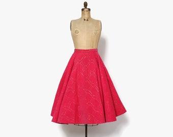 Vintage 50s Corduroy Circle SKIRT / 1950s Hot Pink Metallic Gold Lurex Full Skirt