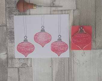 Christmas Bauble Stamp  - Merry Christmas Stamp - Personalised bauble - Christmas Ornament Stamp - Christmas card craft - rubber stamp