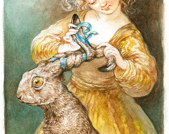 Braiding Her Hare (print)- rabbit, bath, hair care, pets, puns