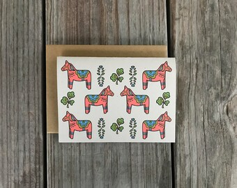 Dala Horse Cards, Dala Horse Thank You Cards, Swedish Dala Horse Note Card Set