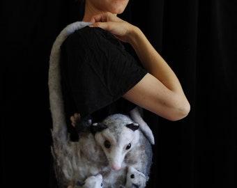 OPOSSUM PURSE - vegan purse / couture purse / handmade purse / bag / needle felted purse / animal purse / couture / weird art / high fashion