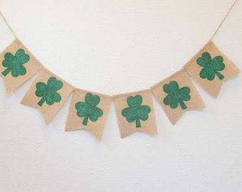 Shamrock St Patricks Day Burlap Banner
