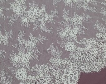 Ivory lace fabric with cord, French lace, Chantilly lace, Bridal lace, Wedding lace, White lace, Veil lace, Scalloped Floral lace EVS028C