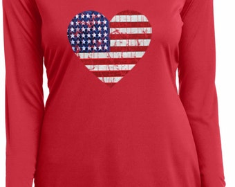 Distressed USA Heart Ladies Moisture Wicking V-neck Long Sleeve Tee T-Shirt WS-16253-LST353LS