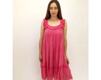 Rosé Dress // vintage 70s pink cotton sun gauze gypsy boho hippie midi hipster bohemian Mexican hippy 1970s // O/S