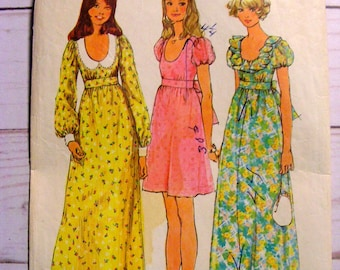 Mini or Maxi Scoop Neck Prom Worthy Empire Waist Dress | Puff LS SS | Misses 8 | Simplicity 5568 | cut used complete vintage sewing pattern