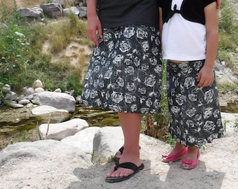 Mommy and Me Skirts - Matching Skirts - Modest Outfits - Black and White - Liverpool Fabric - Knee Length Skirt - Modest Skirt - Aline Skirt