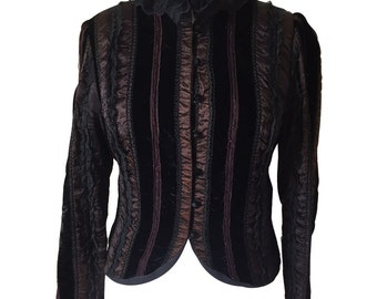 Black Vintage Victorian Velvet and Lace Jacket with Long sleeves & Lace Collar. Steam punk, Stripes, Victorian, Antique