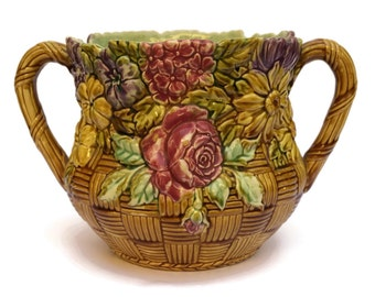 Onnaing Majolica Cache Pot. Ceramic Flower Basket. French Garden Décor.  Antique French Planter.