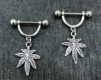 Sale.....14g, 16 gauge Pot leaf stainless steel nipple rings, cartilage piercing jewelry