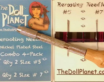 Doll Hair Rerooting Tool Kit w 4 Cut Needles for Rerooting Barbie® Monster High® Ever After High® My Little Pony Fashion Royalty Disney