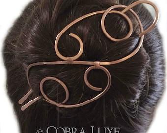 Copper Hair Barrette Bun Holder Copper Hair Fork Rose Gold Hair Clip U Shaped Hair Pin Long Fine Thick Hair Accessory Gift Women