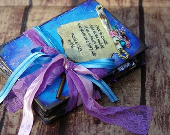Alice in Wonderland Wedding Guestbook - purple blue Fairytale Scrapbook - Alice in Wonderland Guest Book - Once Upon A time Book Alternative
