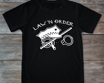 Law 'n order shirt, police shirt, law enforcement shirt, tattoo shirt, classic tattoo art, old school shirt, hipster gift, police gift