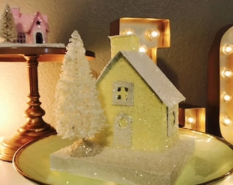 Little Holiday Glitter House - Vintage Inspired German Putz Glitter Christmas House, Christmas Decor, Yellow