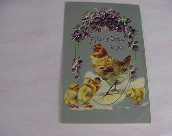 Vintage 1909 Tuck's Easter Postcard with Mother Hen and Baby Chicks with Purple Flowers, USED, Scrapbooking, Collage, Altered Art