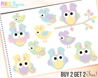 easter clipart owls birds clip art digital - Easter Hoots & Tweets Clipart - BUY 2 GET 2 FREE