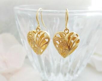Gold Heart Earrings - Filigree Heart Earrings - Heart Jewelry - Romantic Girlfriend Gift - Puffy Heart Earrings - I Love You Valentine E5520