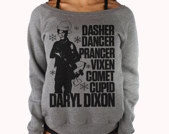 Off Shoulder The Walking Dead Sweatshirt - Tacky Ugly Christmas Sweater , Walking Dead Sweater. Daryl Dixon Christmas Sweatshirt